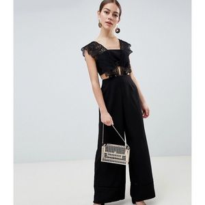 ASOS Design Black Lace Top Jumpsuit with Wide Leg
